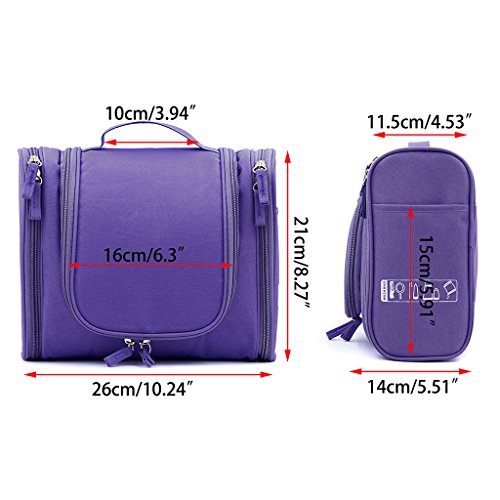 Waterproof Travel Hanging Wash Bag Large - Purple