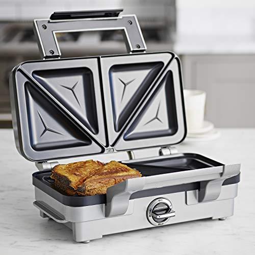 Cuisinart Sandwich Maker | Non-Stick Removable Plates | Silver | GRSM1U