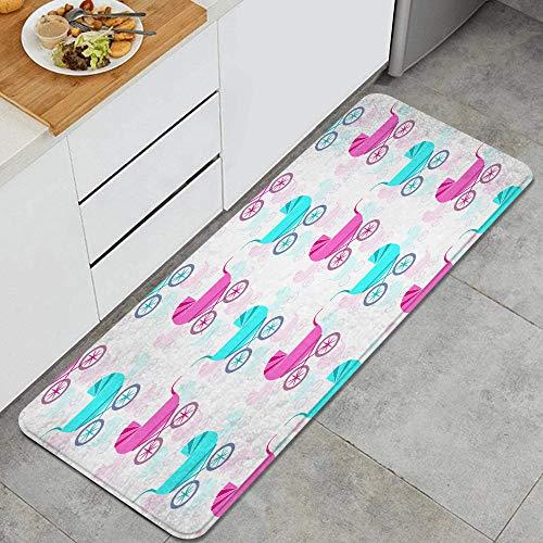 HARXISE Alfombras para Cocina Baño de Cocina Absorbente Alfombrilla,Bonito patrón con cochecitos de bebé Retro,para Dormitorio Baño Antideslizantes Lavables