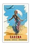 Bélgica del Congo sudaf RIKA (Belga Congo Sudáfrica)–Sabena Compañías Aéreas–africana tronco Bailarines Vieja Sociedad de vuelo–Póster de viaje CJ Pub c.1950s–Impresión (, 76cm x 112cm