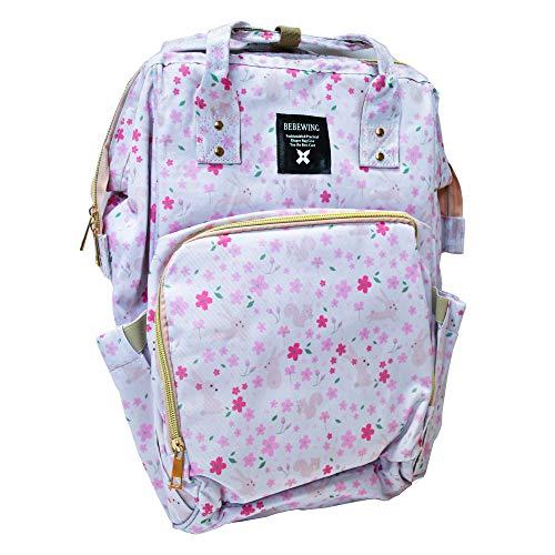Bebewing Diaperbag Rucksack, wasserabweisend, großes Fassungsvermögen, stilvolle Handtasche mit Henkel in mehreren Mustern, Pink (Rosa und Weiß mit Blumenmuster), Einheitsgröße
