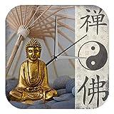 LEotiE SINCE 2004 Wanduhr mit geräuschlosem Uhrwerk Dekouhr Küchenuhr Baduhr Nostalgie Wand Deko Uhr Yin Yang Buddha Vintage Retro