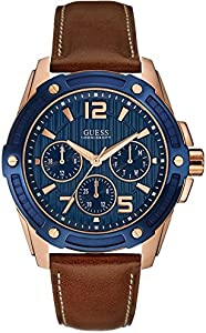 Guess W0600G3 Sub-Dials Round Analog Contrast Genuine Leather-Stitched Watch for Men - Brown