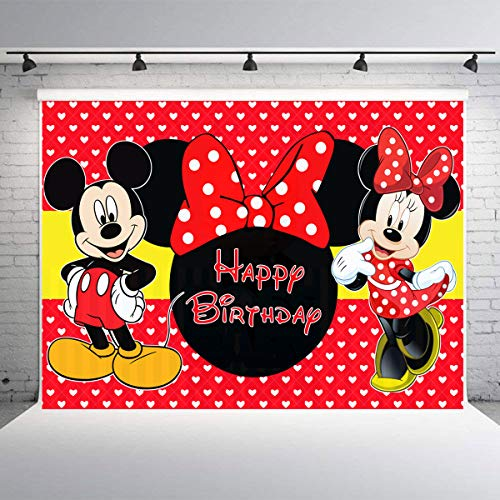 7x5FT Minnie Mouse Photography Photo Background for Kids Birthday Party Backdrops Decoration