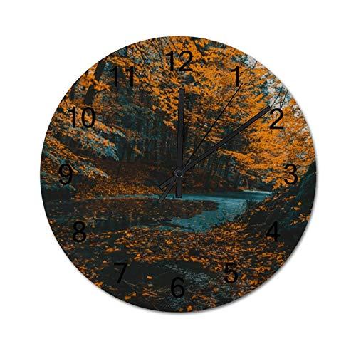 happygoluck1y Reloj de pared moderno de madera con diseño de árboles naranjos para sala de estar, dormitorio, silencioso, rústico, de 30,48 cm para paredes