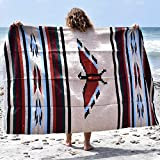 Mexican Thunderbird Blanket Wall Tapestry | Authentic Southwestern Blanket | XL Thick Mexican Blanket Eagle - Tan Brown Navajo Aztec Style – Handwoven Yoga Blanket from Mexico (Tan)