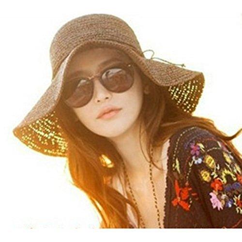 Sombre Hugestore con diseño plegable y de paja para mujeres, ideal para playa marrón marrón