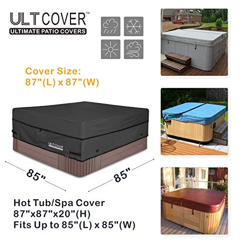 ULTCOVER Waterproof 600D Polyester Square Hot Tub Cover Outdoor SPA Covers 85 x 85 inch, Black
