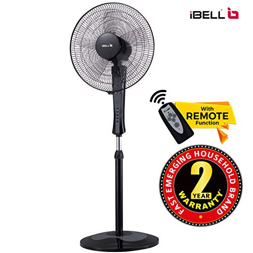 iBELL WINDP10 Pedestal Fan 5 Leaf with Remote and High Air Flow,406mm, 55W, High Speed, 100% Copper & Timer Function