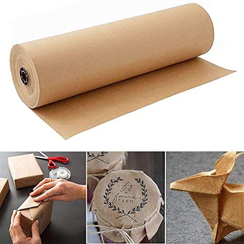 Braun Kraftpapier Kraftpapier Rolle 45cm x 30m -Natürliches Recyclingpapier zum Einpacken von Geschenken,Basteln, Stauen,Verpacken,Versenden,Paket Dekorpapier