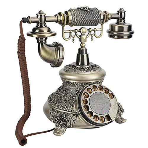 Teléfono con FiloRetro Vintage Teléfono Desktop antiguo Teléfono Europeo Resina TurnTable Teléfono...