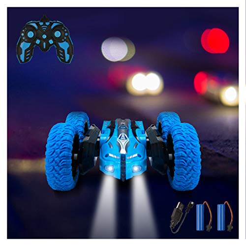 Remote Control Car, RC Cars Stunt Car Toy, 4WD 2.4Ghz Double Sided 360° Rotating RC Car with Headlights, Kids Xmas Toy Cars for Boys/Girls Click i...