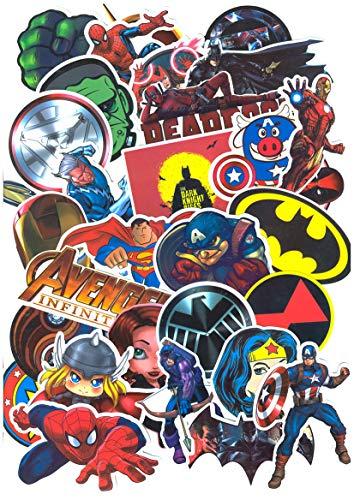 SetProducts ⭐ Top Pegatinas !⭐ Juego de 32 Pegatinas de Superhéroes Marvel Vinilos - No Vulgares - Deadpool, Hulk, Superman, Spiderman - Personalización, Scrapbooking, Bullet Journal