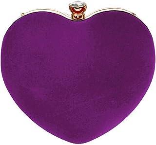 Buddy Mini-Handtasche für Damen, herzförmig, Clutch, Samt, Schultertasche, Abendtasche, Kette