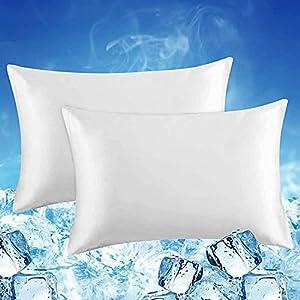 Luxear 2 fundas de almohada refrescantes de 40x80 cm para sudor nocturno, funda de almohada supersuave japonesa Arc-Chill Q-Max 0,4 fibra de refrigeración + 100% algodón