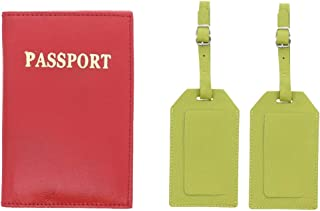 Passport & 2 Luggage Tags Set Genuine Leather, Red Green (Multicoloured) - LTPC0004Q4