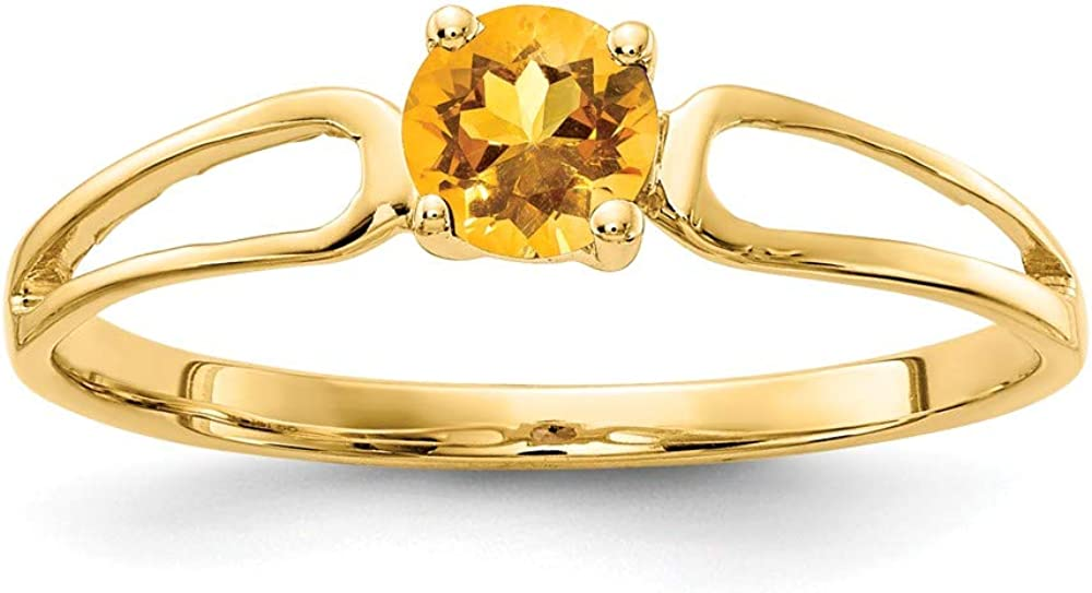 Solid Super shopping sale period limited 14k Yellow Gold 4mm Engag November Citrine Gemstone