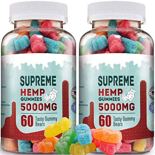 Supreme Hemp Gummies - 5000mg- 120ct - Organic Hemp Extract Infused - Relaxing, Pain Relief, Stress & Anxiety Relief, by New Age Naturals
