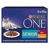 PURINA ONE Senior 7+ Lot de 40 Sachets de Nourriture pour Chats, Poulet et Bœuf - 5 x 8 x 85g