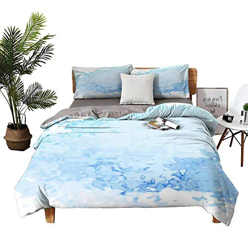 DRAGON VINES Four-Piece Bedding Sheets Full Set Pillow sham Blue Watercolor Paper Background. Bed Sheets King Size Deep Pocket W85 xL85