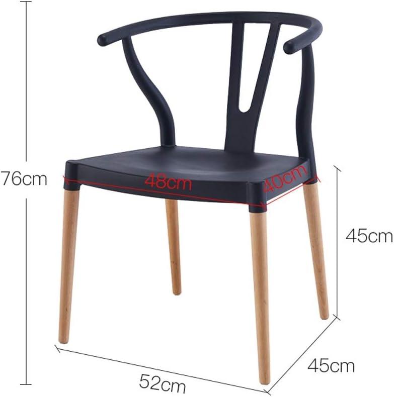 Chaise, maison avec dossier avec accoudoirs chaise de salle à manger chaise moderne minimaliste nordique en bois massif (Couleur : Yellow) White
