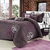 Cheila 12 Piece Comforter Set Color: Plum, Size: King
