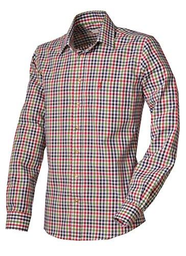 Almsach Trachtenhemd Merkendorf rot/blau Slim Fit, Gr. L - 41/42