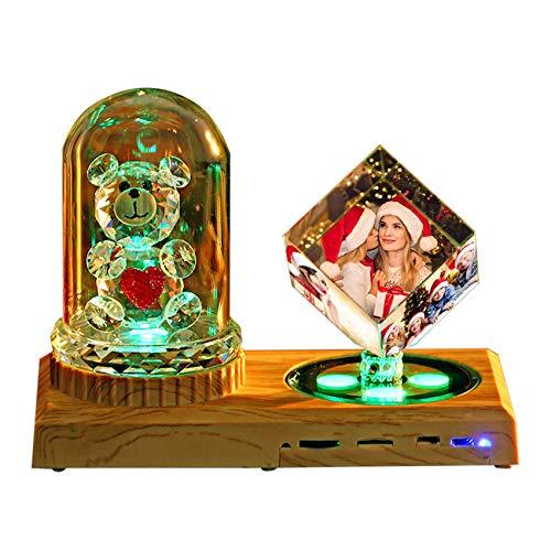 Lámpara De Fotos Bluetooth Música Luz De Cristal Luz De Noche Led Cubo De Rubik Con Rosas Pareja Bebé Boda Álbum De Fotos Regalo Sorpresa(Oso De Cristal + Cubo De Rubik 15 * 20CM/5.9 * 7.9IN)