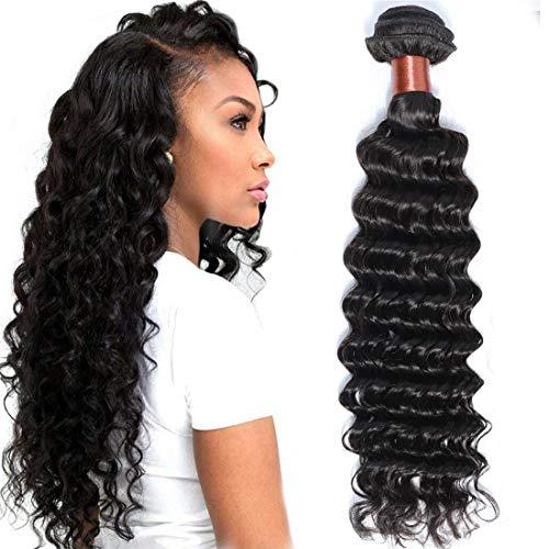 BLACKMOON HAIR Brazilian Virgin Hair Deep Wave Bundles One Bundle Unprocessed Virgin Human Hair Extension Deep Curly Hair Weave Natural Black Color(24 Inch)