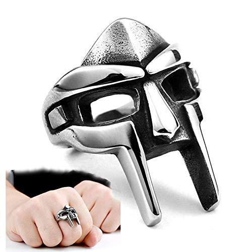 MF Doom Mask Gladiator Style Ring, Spartan Ring-Gothic Punk Punk Retro Anello in Acciaio Inossidabile (Silver, 11)
