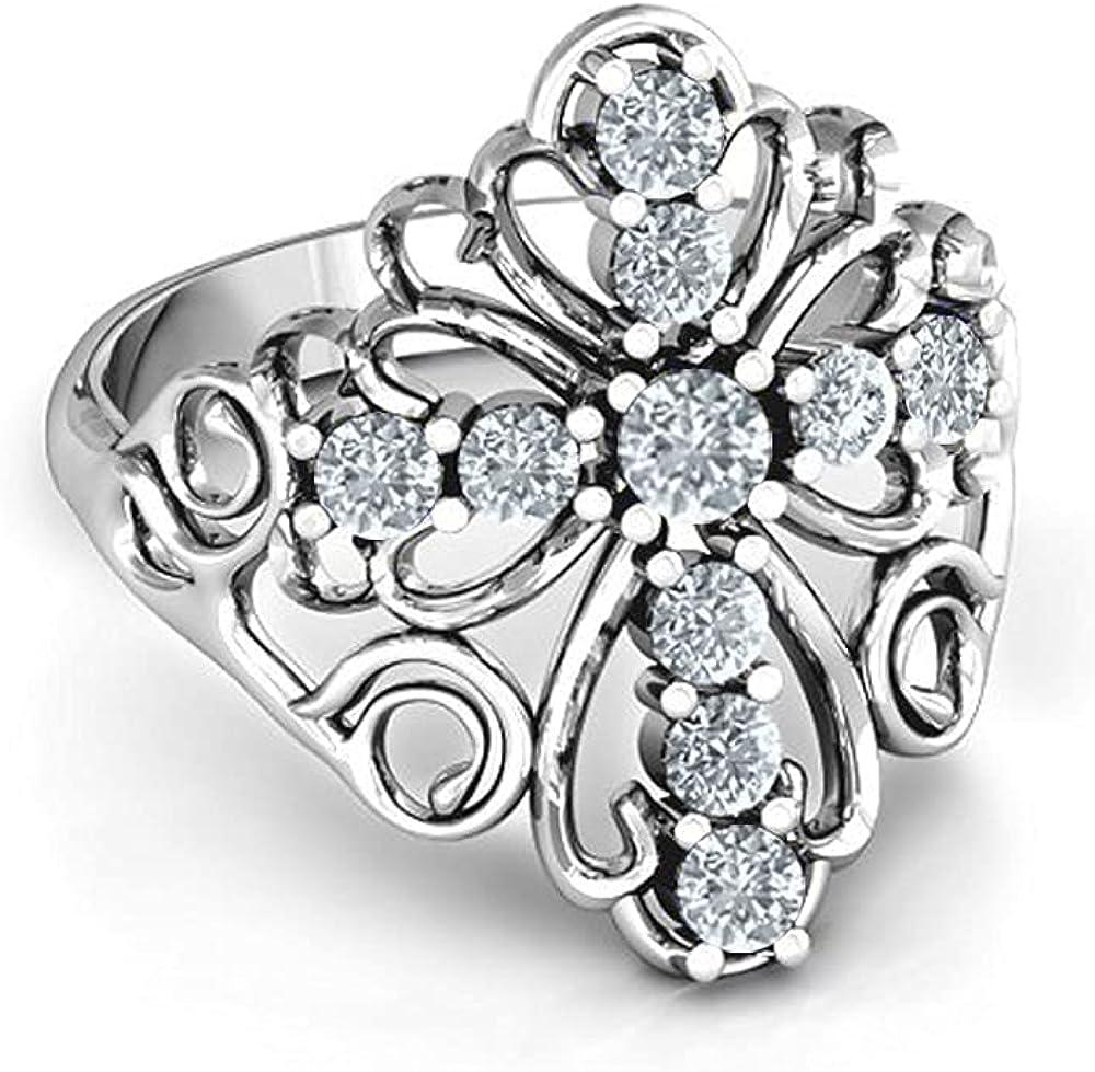 Savlano 18K White Gold Plated Round Cut Cubic Zirconia Filigree Cross Ring Women's Girl's Religious Ring