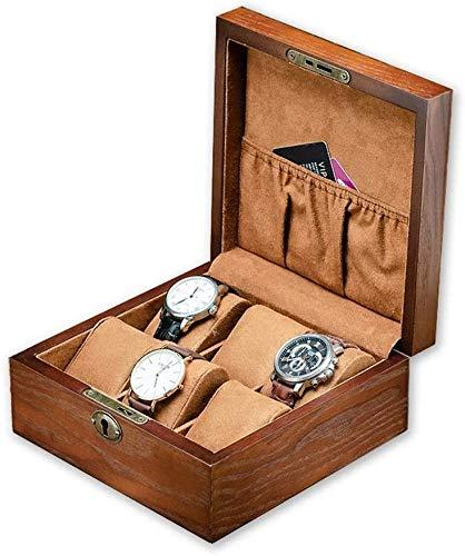 Cajas Para Relojes Caja de reloj de 6 bits de la vendimia de madera reloj Joyero Con Metal Lock & Key Caja de regalo de la baratija del pecho for los regalos a la familia ( Size : 19 × 19 × 8.5 cm )