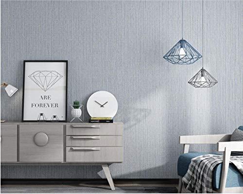 Moderne Einfachheit Vliestapete 9,5m x 0,53m Uni-Streifen im nordischen Stil 3D Vlies Tapete für Schlafzimmer, Wohnzimmer oder Küche TV-Hintergrund,Silber grau