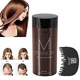 Miji Hair Building Fibers, Hair Powder Minnow 4 Types Women Men Baldness Concealer Thickening Hair Building Fibers Powder with Professional Hair Comb (Dark Brown) Professional