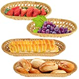 SOUJOY 4 Pack Bread Baskets for Serving, Woven Wicker Bread Fruits Basket, Round Handmade Rattan Serving Tray for Home Restaurant Vegetables Party Eating Food Coffee Table