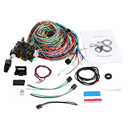 Partol Wiring Harness Kit 21 Circuit Hot Rod Universal Long Wires 17 Fuses Wiring Harness 21 Standard Color for Chevy Mopar Hotrods Ford Chrysler