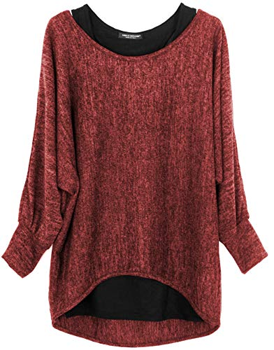 Emma & Giovanni - Damen Oversize Oberteile Tshirt/Pullover (2 Stück) / Made In Italy,M-L, Bordeaux
