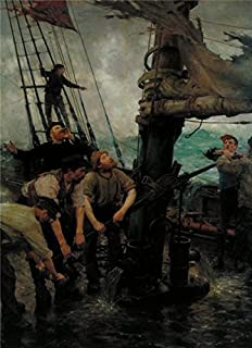 Oil painting 'Henry Scott Tuke - All Hands to the Pumps,1888-1889' printing on Perfect effect Canvas , 16x22 inch / 41x56 cm ,the best Bar decoration and Home artwork and Gifts is this Amazing Art Decorative Prints on Canvas