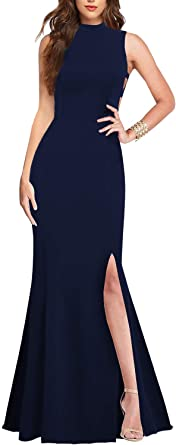 Lamilus Women's Sexy High Neck Sleeveless Cutout Side Slit Formal Bridesmaid Maxi Party Evening Long Dress Mermaid Prom Gown