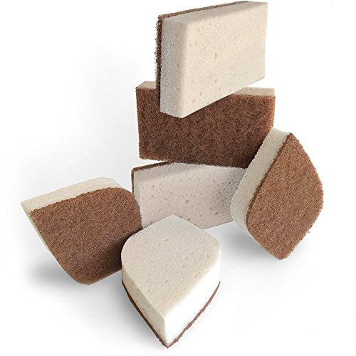 Pura Naturals Stink Free Sponge. Stay Fresh NO Odor Guarantee! Eco Kitchen/Household/Dish Sponges w/Walnut Scrubbers. 40x More Durable. (6)