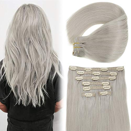 Grey Clip in Hair Extensions Human Hair Vivien 12 inch Full Head Remy Human Hair Clip in Extensions Thick Ends Grey Blonde Hair Extensions 70 Grams 7Pcs