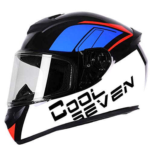 Dajie Casco de motocicleta todoterreno para motocicleta, casco de máscara abierta, visera antivaho, certificación D.O.T, negro, azul, XL