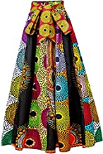 HongyuAmy Women's African Print High Waist Pleated A Line Long Maxi Skirts with Pockets (One Size, Color A)