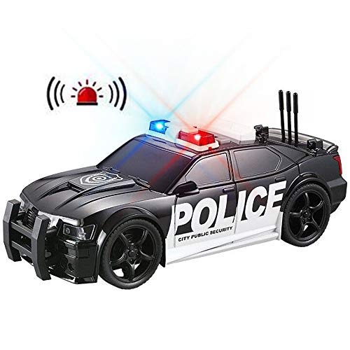 Police Car Toy Plastic Pursuit Rescue Vehicle with Sirnes Sound and Light for Kids Toddlers Boys 1:20