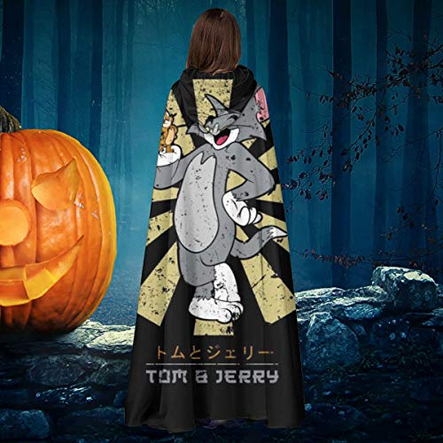 AISFGBJ Tom And Jerry Retro Japons Unisex Navidad Bruja Caballo con capucha Vampiros Capa Cosplay Disfraz
