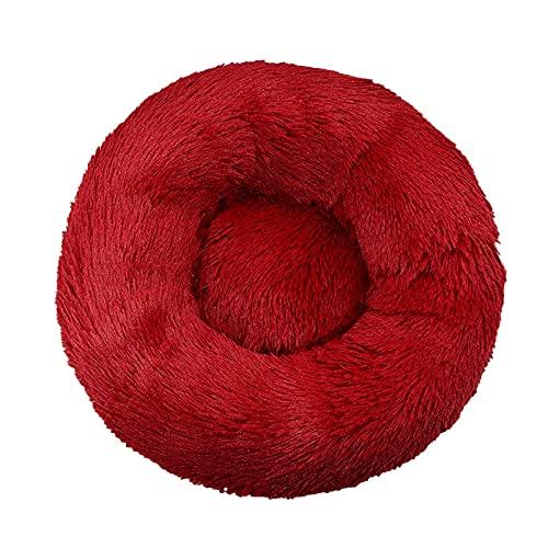 Cama de perro para mascotas cómoda donut redonda perrera suave lavable perro y cojín cama invierno cálido perro dropshipping (color: rojo vino, tamaño: 80 cm)