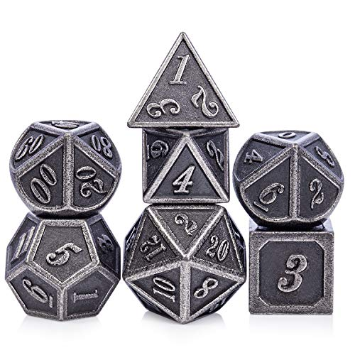 Acient Silver Metal DND Dice Set, 7PCS D&D Metal Dice with Metal Box for Dungeons and Dragons, Shadowrun, Pathfinder, Savage World and Table Games