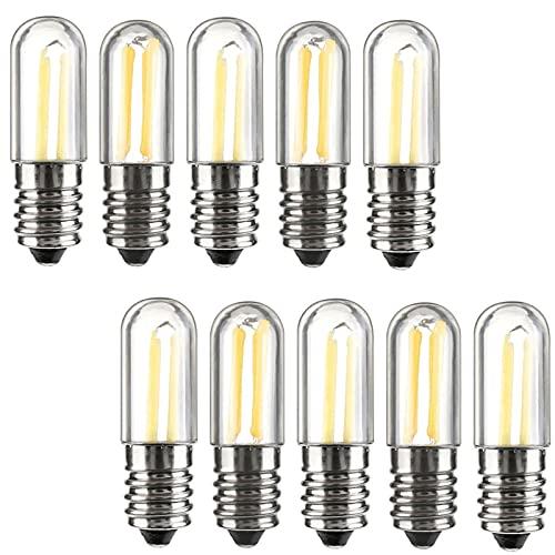 LPsweet 10 Unids/Lotes Mini E14 LED Frigorífico Congelador Filamento Luz Bulbos De COB 1W 2W 4W Lámpara Blanca Caliente/Fría 220V,Blanco,1W