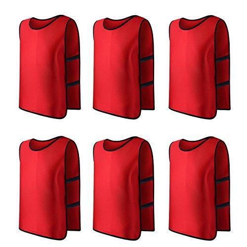 Panegy 6x Sport Leibchen für Fußball Basketball Markierungshemd Fußball Trainingsleibchen Fußballtraining Scrimmage Weste Trikots für Erwachsene in Rot, 68x50 CM