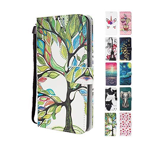 UCool - Funda para Samsung Galaxy S5 (piel sintética, con tapa y tarjetero), diseño de árbol de la vida